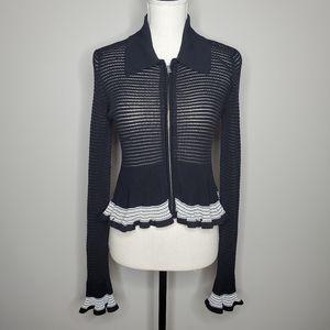 McQ Alexander Mcqueen Sheer Knit Peplum Jacket